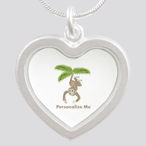 Personalized Monkey Silver Heart Necklace