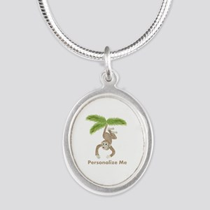 Personalized Monkey Silver Oval Necklace