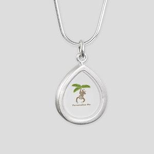 Personalized Monkey Silver Teardrop Necklace
