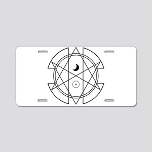Unicursal Hexagram Luna Sol Aluminum License Plate