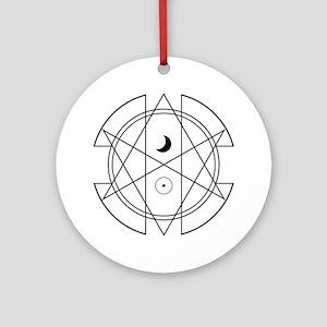 Unicursal Hexagram Luna Sol Ornament (Round)
