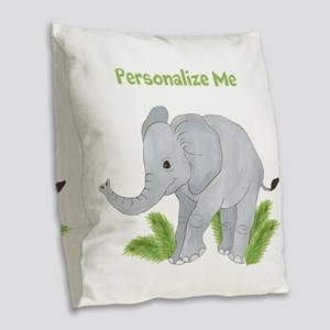 Personalized Elephant Burlap Throw Pillow