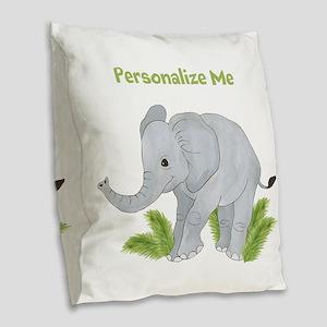 Personalized Elephant Burlap Throw Pillow