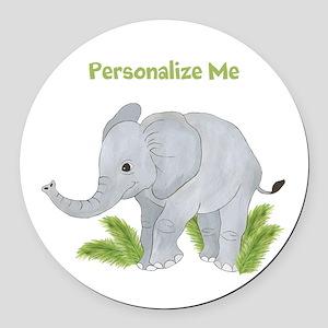 Personalized Elephant Round Car Magnet