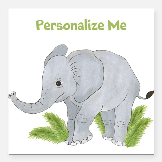 "Personalized Elephant Square Car Magnet 3"" x 3"""