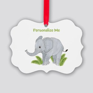 Personalized Elephant Picture Ornament