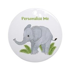 Personalized Elephant Ornament (Round)