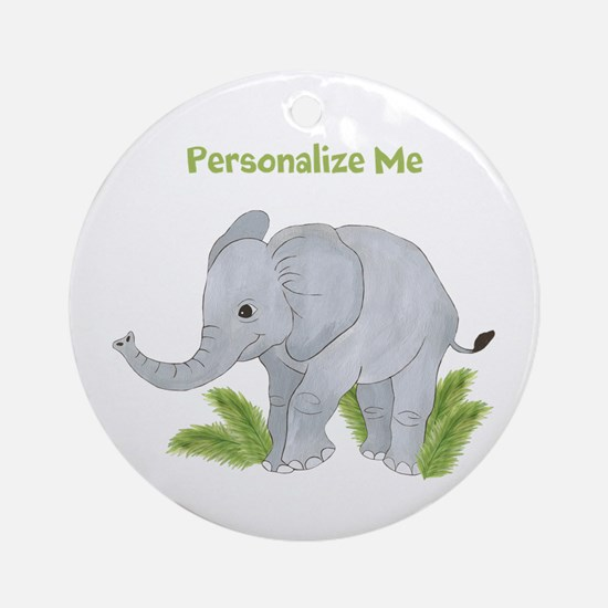 Personalized Elephant Ornament (Round)