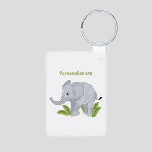 Personalized Elephant Aluminum Photo Keychain