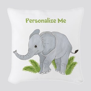 Personalized Elephant Woven Throw Pillow