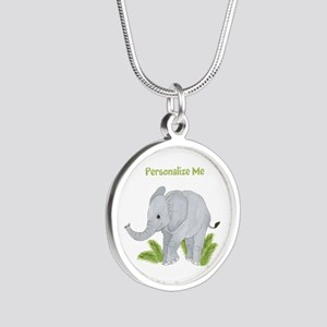 Personalized Elephant Silver Round Necklace