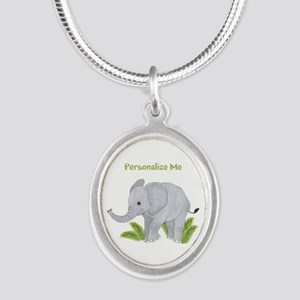 Personalized Elephant Silver Oval Necklace
