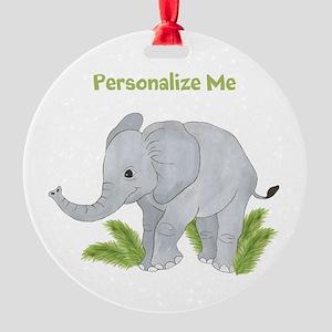 Personalized Elephant Round Ornament