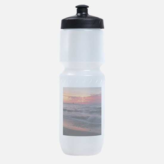 Sunset with waves Sports Bottle