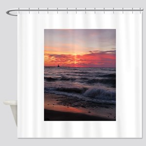 Sunset with waves Shower Curtain