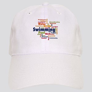 Swimming Word Cloud Baseball Cap