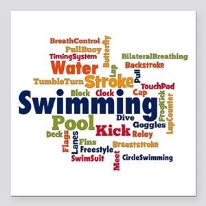 """Swimming Word Cloud Square Car Magnet 3"""" x 3"""""""