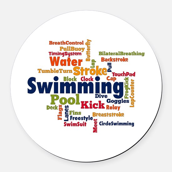 Swimming Word Cloud Round Car Magnet