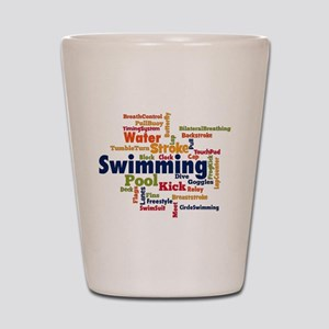 Swimming Word Cloud Shot Glass
