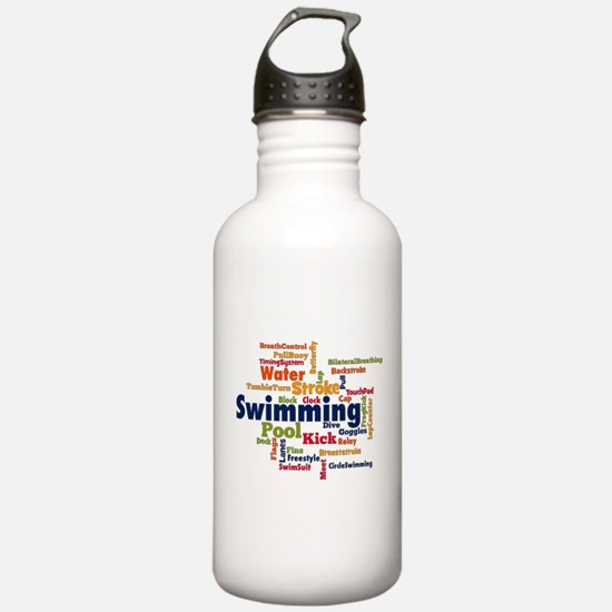 Swimming Word Cloud Water Bottle