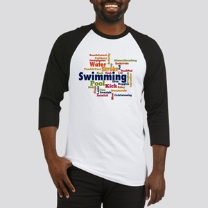 Swimming Word Cloud Baseball Jersey