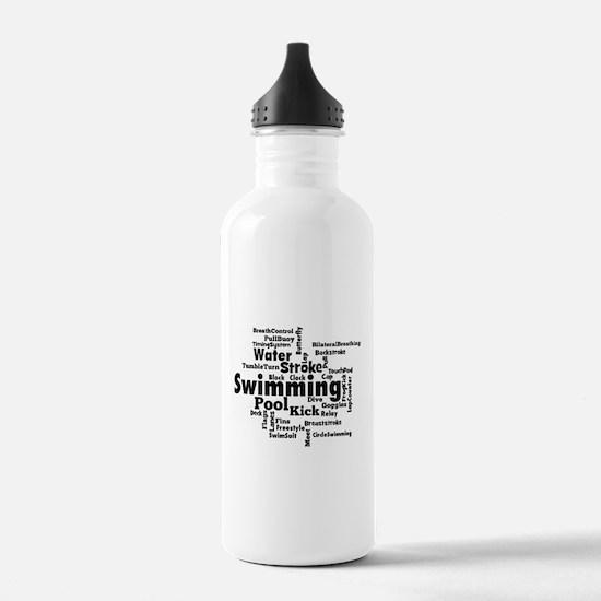 Swim Word Clouc Water Bottle