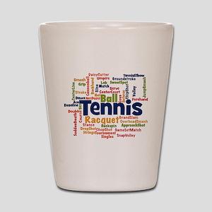 Tennis Word Cloud Shot Glass