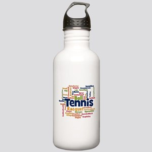 Tennis Word Cloud Water Bottle