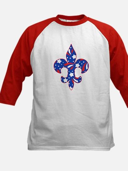 """Fleur de lis """"Red, White & Blue"""" Kids Baseball Jer"""