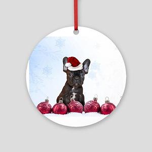 Christmas French Bulldog Ornament (Round)