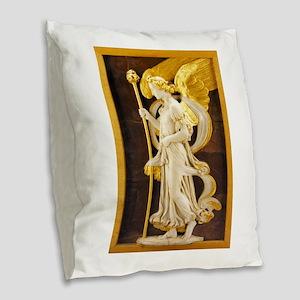 Golden Angel Burlap Throw Pillow