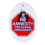 No Amnesty Oval Ornament