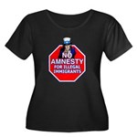 No Amnesty Women's Plus Size Scoop Neck Dark T-Shi