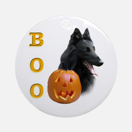 Belgian Sheepdog Boo Ornament (Round)