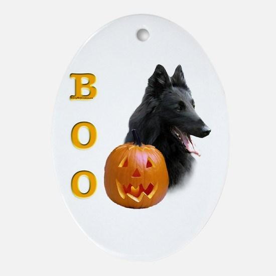 Belgian Sheepdog Boo Oval Ornament