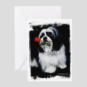 Shih Tzu Dog Rose Greeting Cards