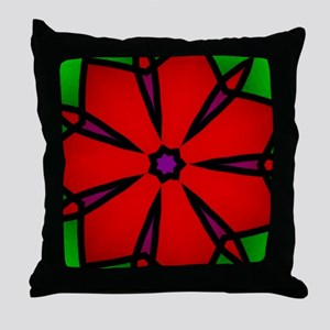 Christmas Red Poinsetta Star Throw Pillow