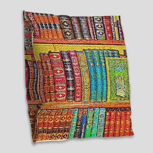Library Burlap Throw Pillow