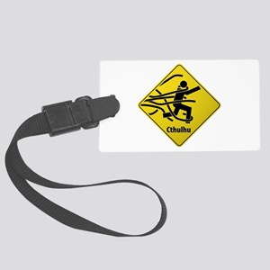 Caution: Cthulhu Crossing Large Luggage Tag