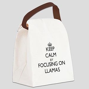 Keep Calm by focusing on Llamas Canvas Lunch Bag