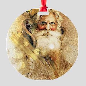 Golden Santa Claus Round Ornament