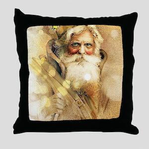 Golden Santa Claus Throw Pillow