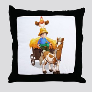 A farmer riding a cart Throw Pillow