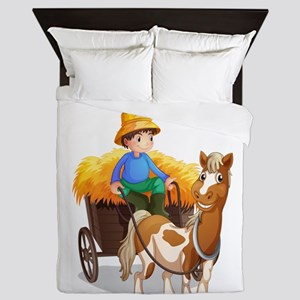 A farmer riding a cart Queen Duvet