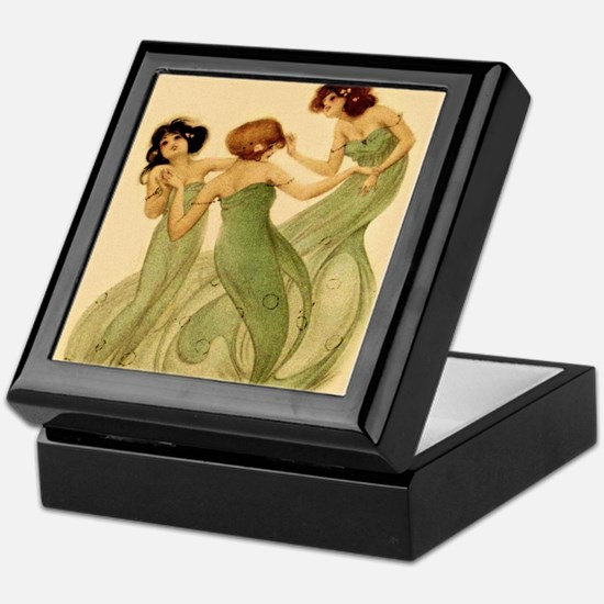 Vintage French Art Deco Dancing Girls Keepsake Box