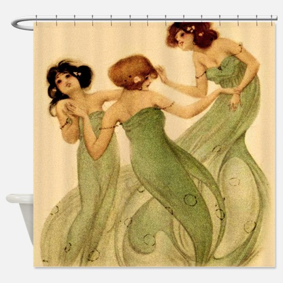 Vintage French Art Deco Dancing Girls Shower Curta