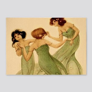 Vintage French Art Deco Dancing Girls 5'x7'Area Ru