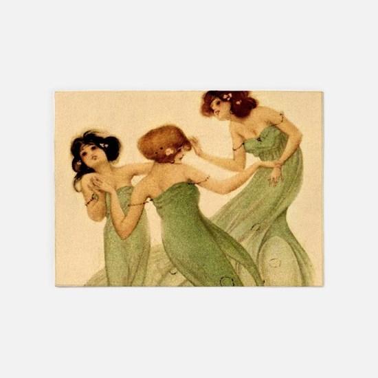 Vintage French Art Deco Dancing Girls 5'x7'Area Ru