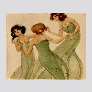 Vintage French Art Deco Dancing Girls Throw Blanke