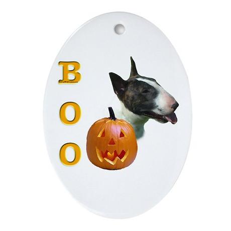 Bull Terrier Boo Oval Ornament